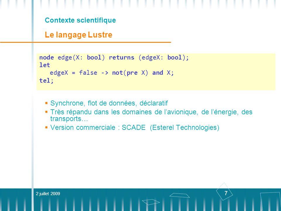 38 Génération de données de test Représentation en contraintes 2 juillet 2009Thèse Besnik Seljimi Test de logiciels synchrones avecla PLC transition q0 = false; q1 = Tamb; q2 = En_marche; q3 = Tsort>Tamb;