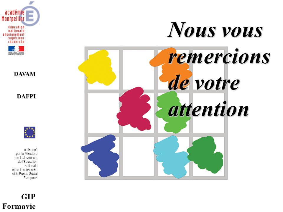 DAVAMDAFPI cofinancé par le Ministère de la Jeunesse, de lEducation nationale et de la recherche et le Fonds Social Européen GIP Formavie Nous vous remercions de votre attention