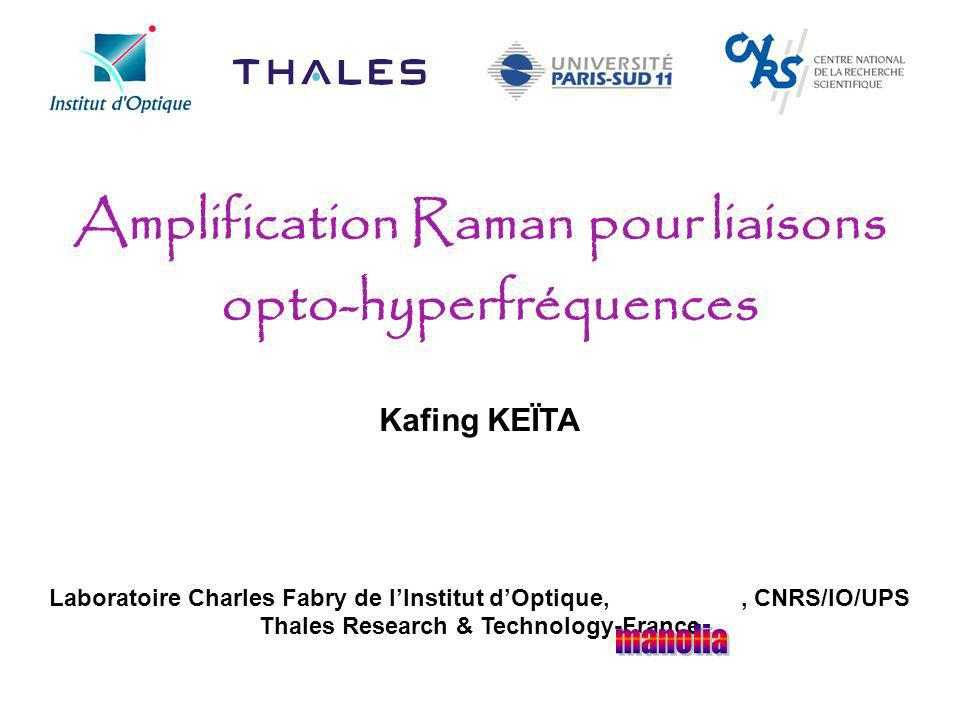 Amplification Raman pour liaisons opto-hyperfréquences Kafing KEÏTA Laboratoire Charles Fabry de lInstitut dOptique,, CNRS/IO/UPS Thales Research & Te