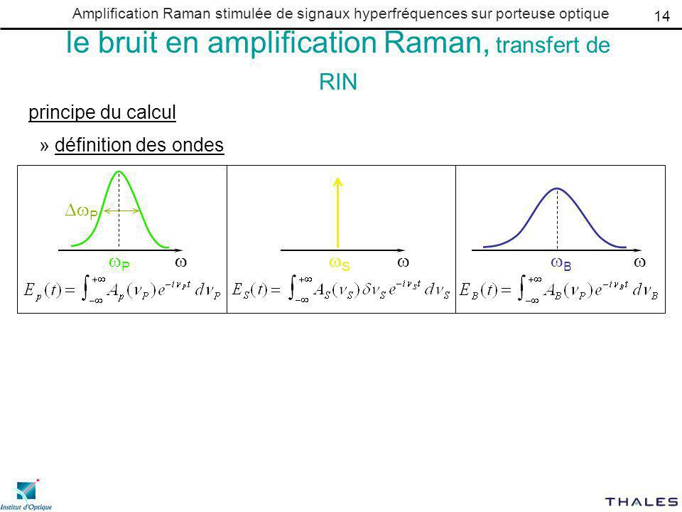 Amplification Raman stimulée de signaux hyperfréquences sur porteuse optique le bruit en amplification Raman, transfert de RIN principe du calcul » définition des ondes P P B S 14