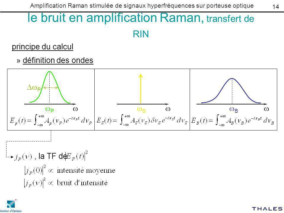 Amplification Raman stimulée de signaux hyperfréquences sur porteuse optique le bruit en amplification Raman, transfert de RIN principe du calcul » définition des ondes P P B S 14, la TF de
