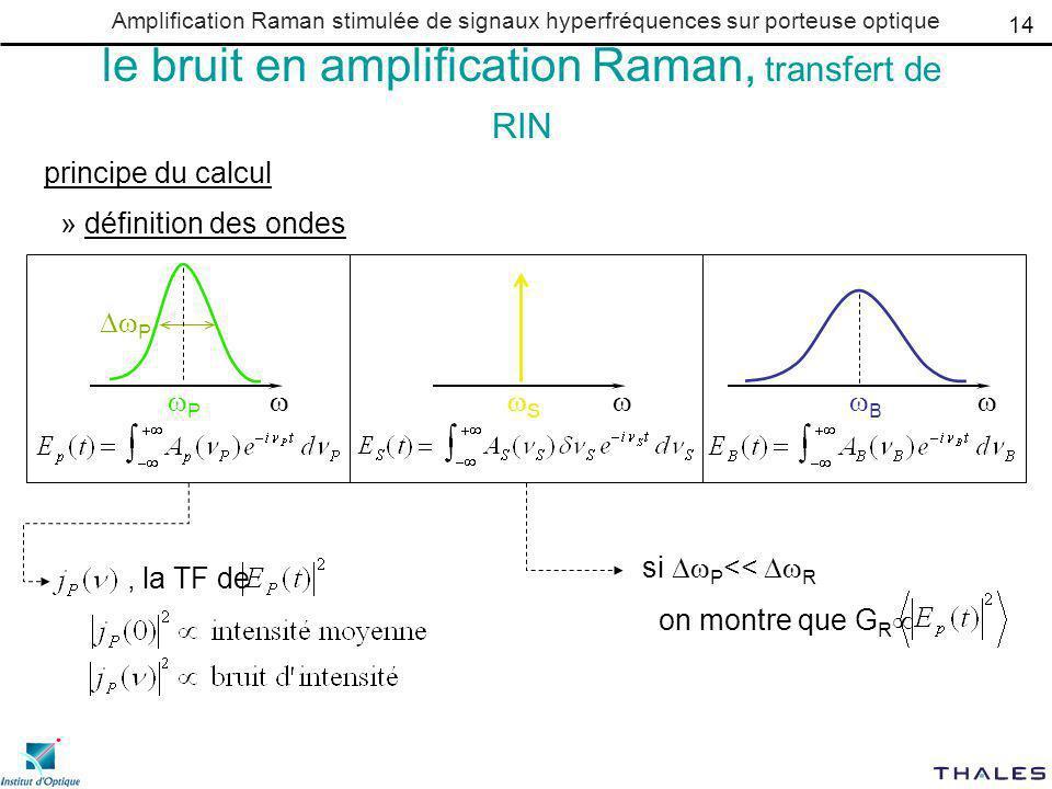 Amplification Raman stimulée de signaux hyperfréquences sur porteuse optique le bruit en amplification Raman, transfert de RIN principe du calcul » définition des ondes P P B S 14, la TF de si P << R on montre que G R