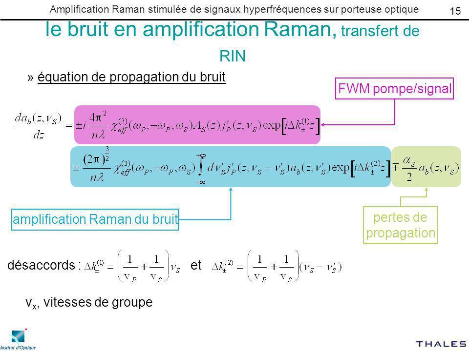 Amplification Raman stimulée de signaux hyperfréquences sur porteuse optique le bruit en amplification Raman, transfert de RIN » équation de propagation du bruit 15 désaccords :et FWM pompe/signal amplification Raman du bruit pertes de propagation v x, vitesses de groupe