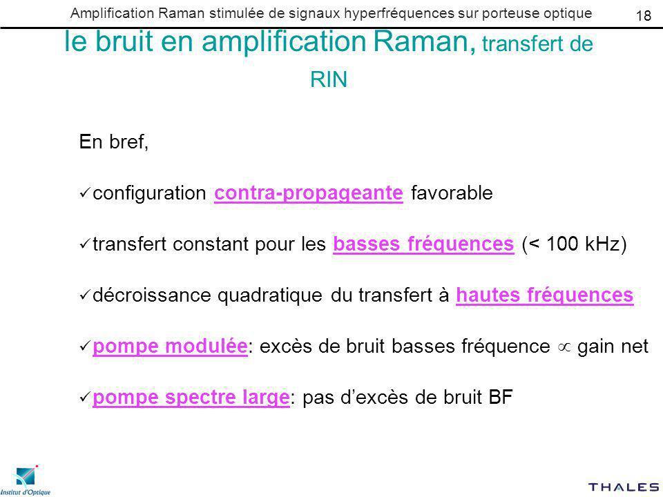 Amplification Raman stimulée de signaux hyperfréquences sur porteuse optique le bruit en amplification Raman, transfert de RIN 18 En bref, configurati