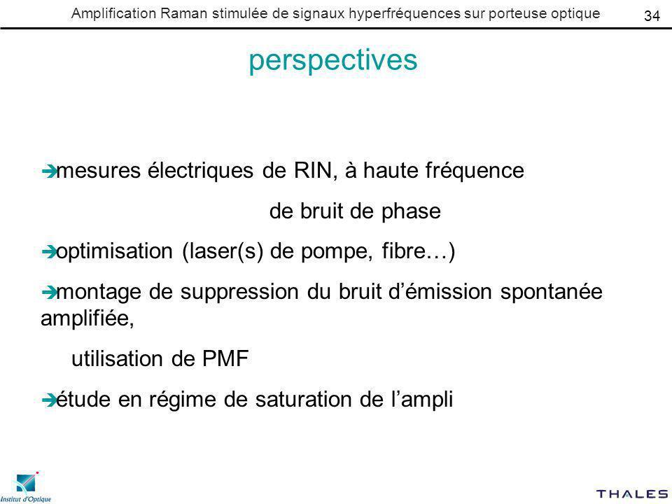 Amplification Raman stimulée de signaux hyperfréquences sur porteuse optique perspectives mesures électriques de RIN, à haute fréquence de bruit de ph
