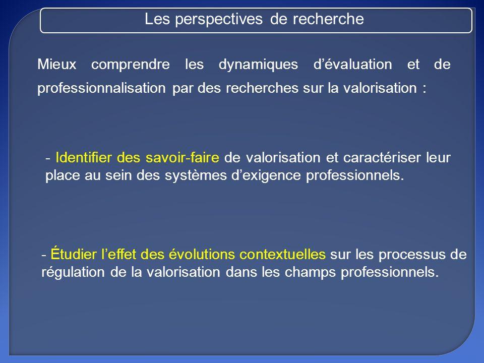 Mieux comprendre les dynamiques dévaluation et de professionnalisation par des recherches sur la valorisation : - Identifier des savoir-faire de valor
