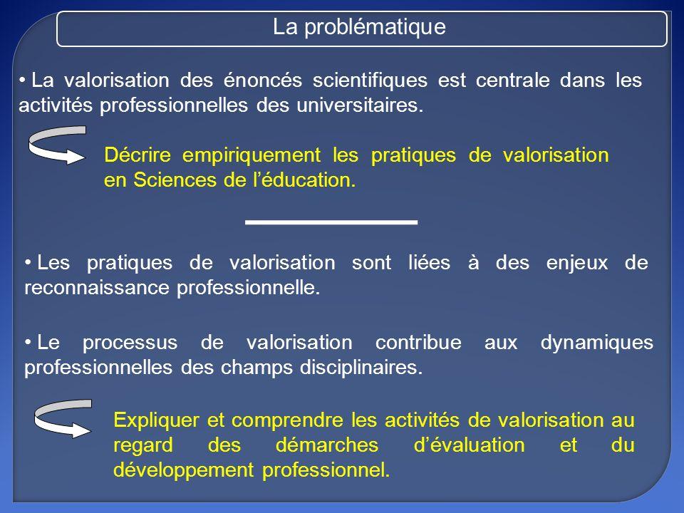 La valorisation de la recherche : la valorisation scientifique, pédagogique et sociale.