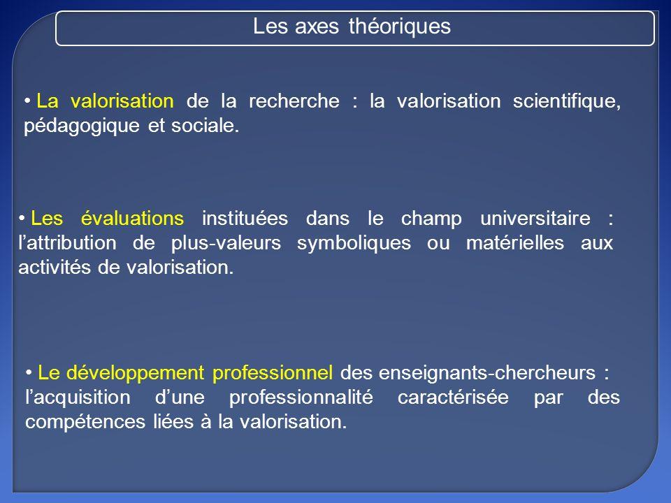 Les pratiques déclarées de valorisation des travaux de recherche des enseignants-chercheurs de Sciences de léducation sorganisent autour de trois modes possibles de valorisation scientifique, pédagogique et sociale.
