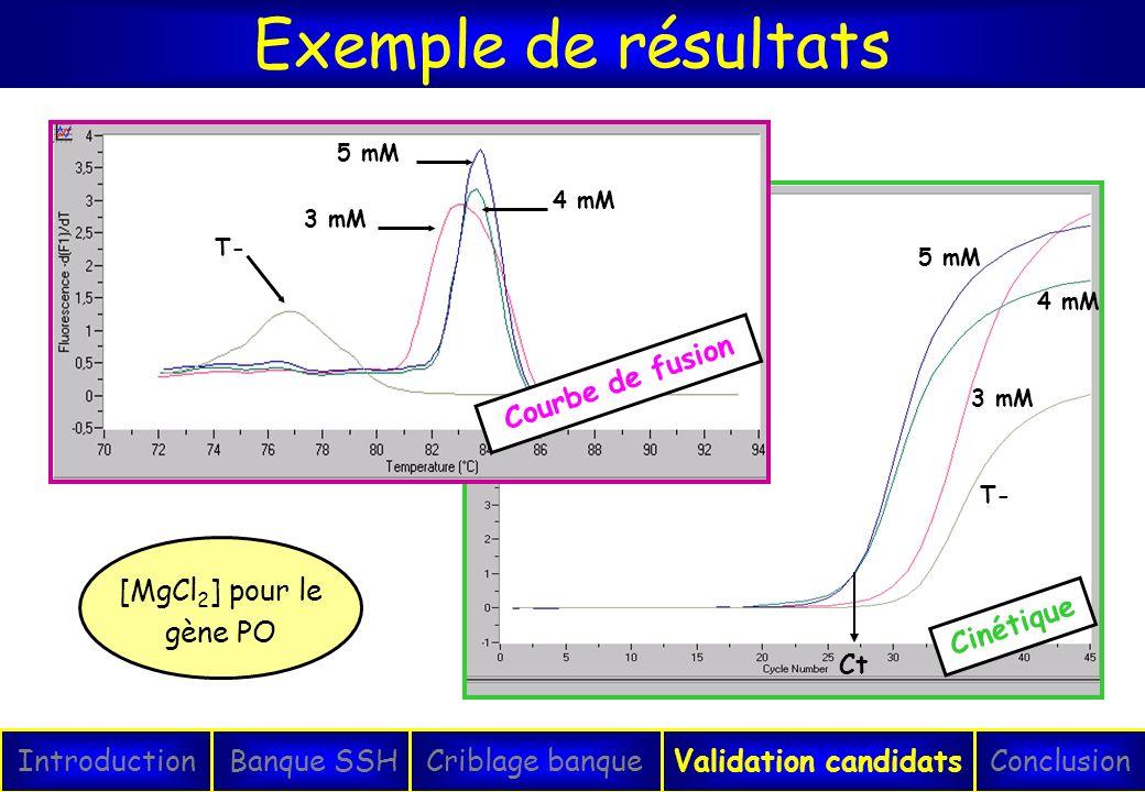 T- 3 mM 5 mM 4 mM Cinétique Ct Exemple de résultats IntroductionConclusionBanque SSHCriblage banqueValidation candidats T- 3 mM 4 mM 5 mM Courbe de fu