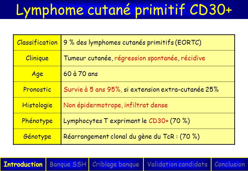 Lymphome cutané primitif CD30+ IntroductionConclusionBanque SSHCriblage banqueValidation candidats Classification9 % des lymphomes cutanés primitifs (