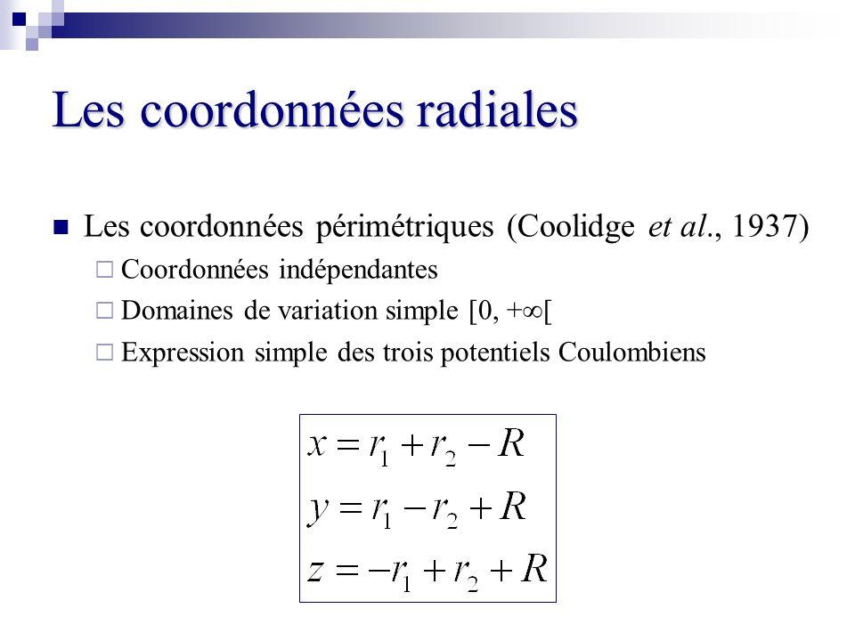 Les coordonnées radiales Les coordonnées périmétriques (Coolidge et al., 1937) Coordonnées indépendantes Domaines de variation simple [0, +[ Expressio