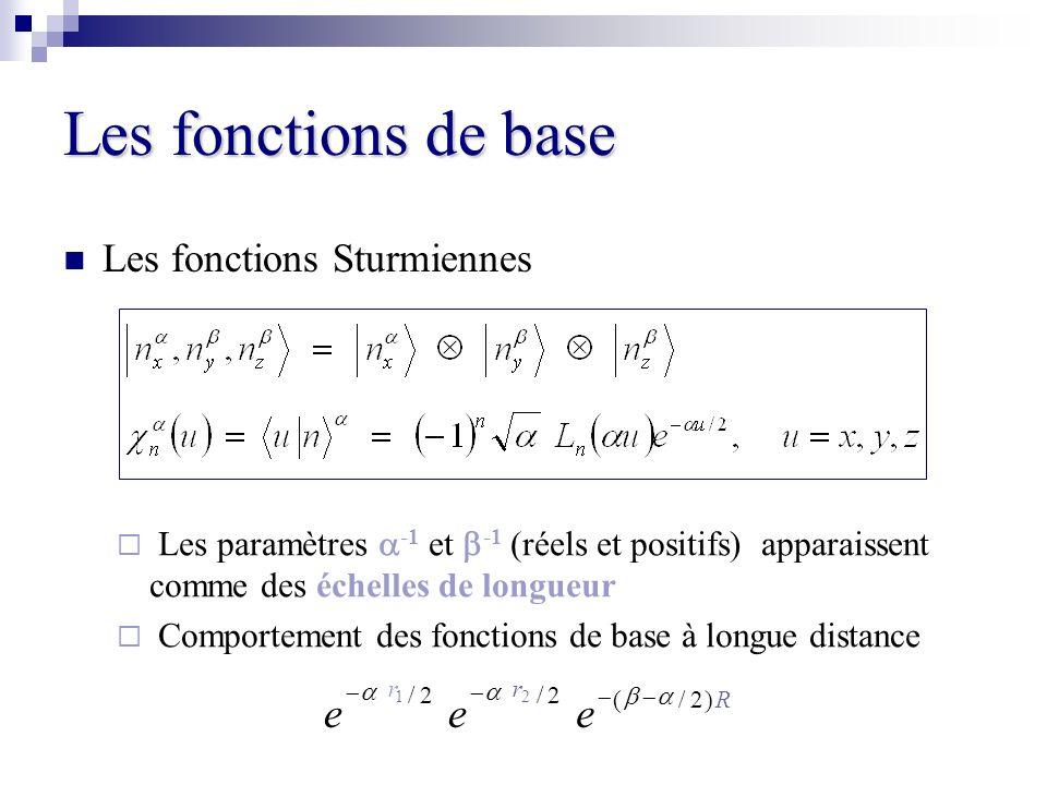 Les fonctions de base Les fonctions Sturmiennes Les paramètres -1 et -1 (réels et positifs) apparaissent comme des échelles de longueur Comportement d