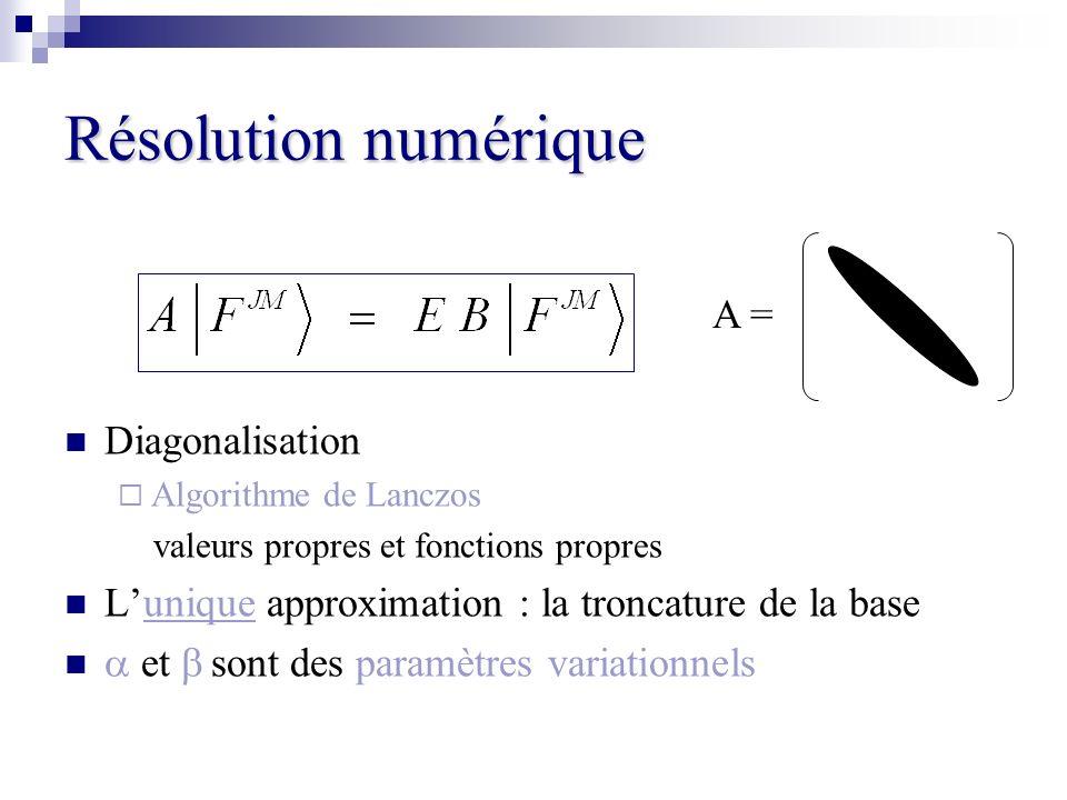 Résolution numérique Diagonalisation Algorithme de Lanczos valeurs propres et fonctions propres Lunique approximation : la troncature de la base et so