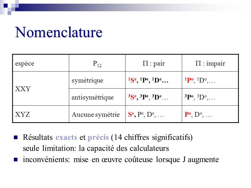 Nomenclature Résultats exacts et précis (14 chiffres significatifs) seule limitation: la capacité des calculateurs inconvénients: mise en œuvre coûteu