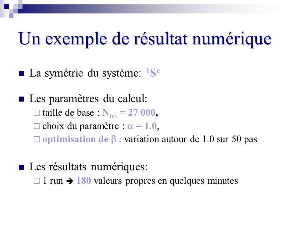 Un exemple de résultat numérique La symétrie du système: 1 S e Les paramètres du calcul: taille de base : N tot = 27 000, choix du paramètre : = 1.0,