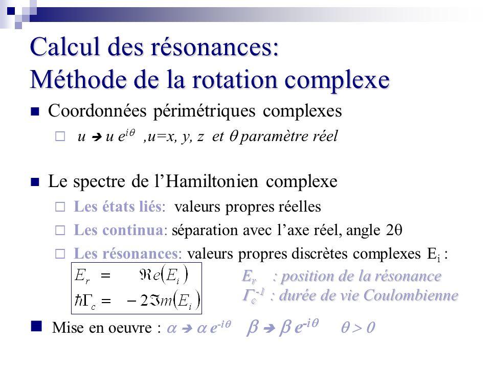 Calcul des résonances: Méthode de la rotation complexe Coordonnées périmétriques complexes u u e i,u=x, y, z et paramètre réel Le spectre de lHamilton