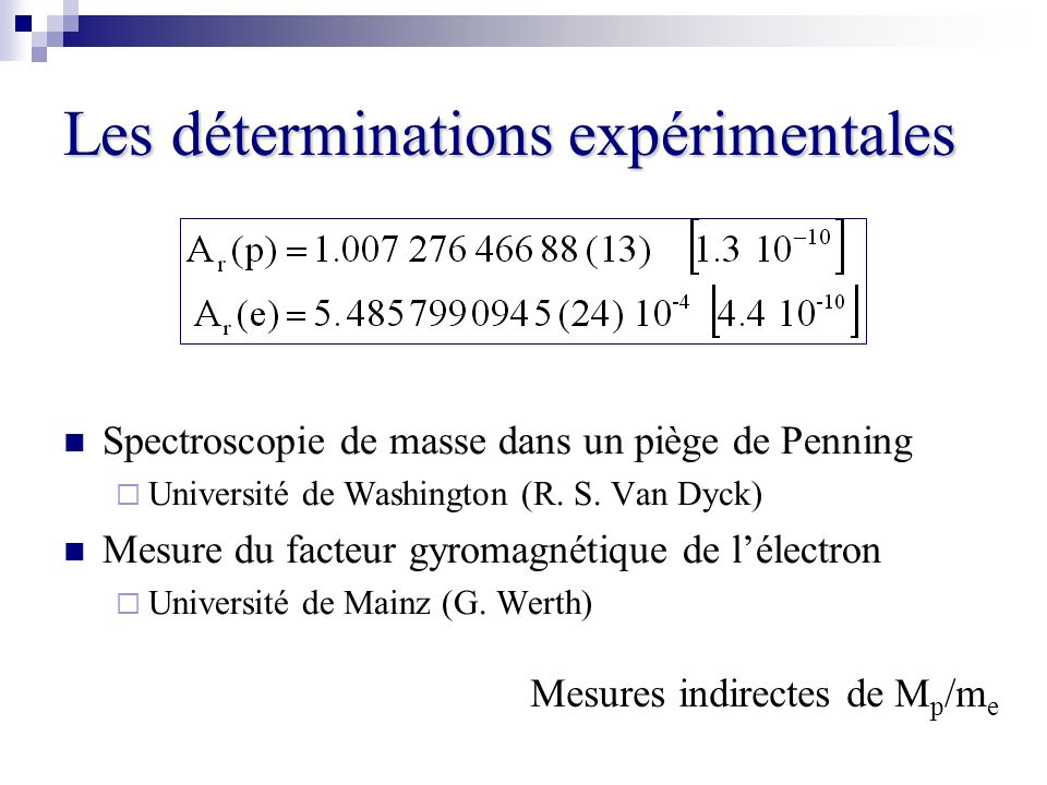 Les déterminations expérimentales Spectroscopie de masse dans un piège de Penning Université de Washington (R. S. Van Dyck) Mesure du facteur gyromagn