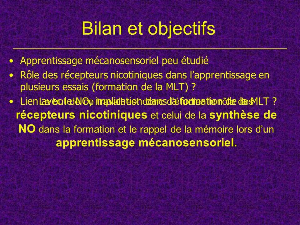 Bilan et objectifs Apprentissage mécanosensoriel peu étudié Rôle des récepteurs nicotiniques dans lapprentissage en plusieurs essais (formation de la