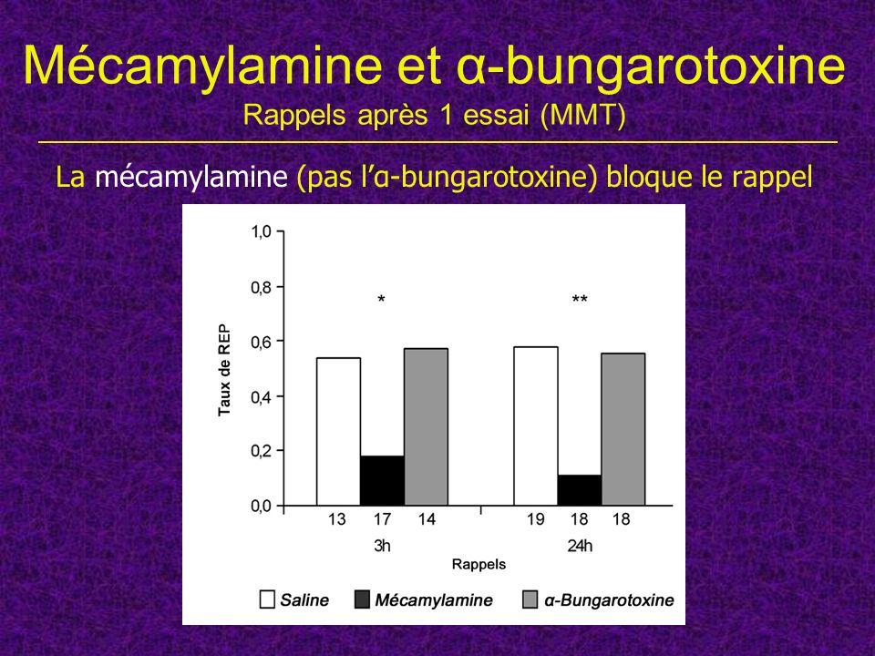 Mécamylamine et α-bungarotoxine Rappels après 1 essai (MMT) La mécamylamine (pas lα-bungarotoxine) bloque le rappel