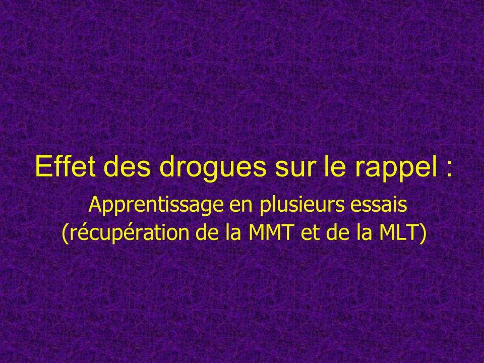 Effet des drogues sur le rappel : Apprentissage en plusieurs essais (récupération de la MMT et de la MLT)