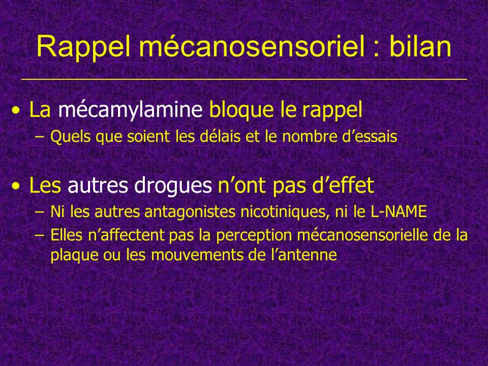 Rappel mécanosensoriel : bilan La mécamylamine bloque le rappel –Quels que soient les délais et le nombre dessais Les autres drogues nont pas deffet –
