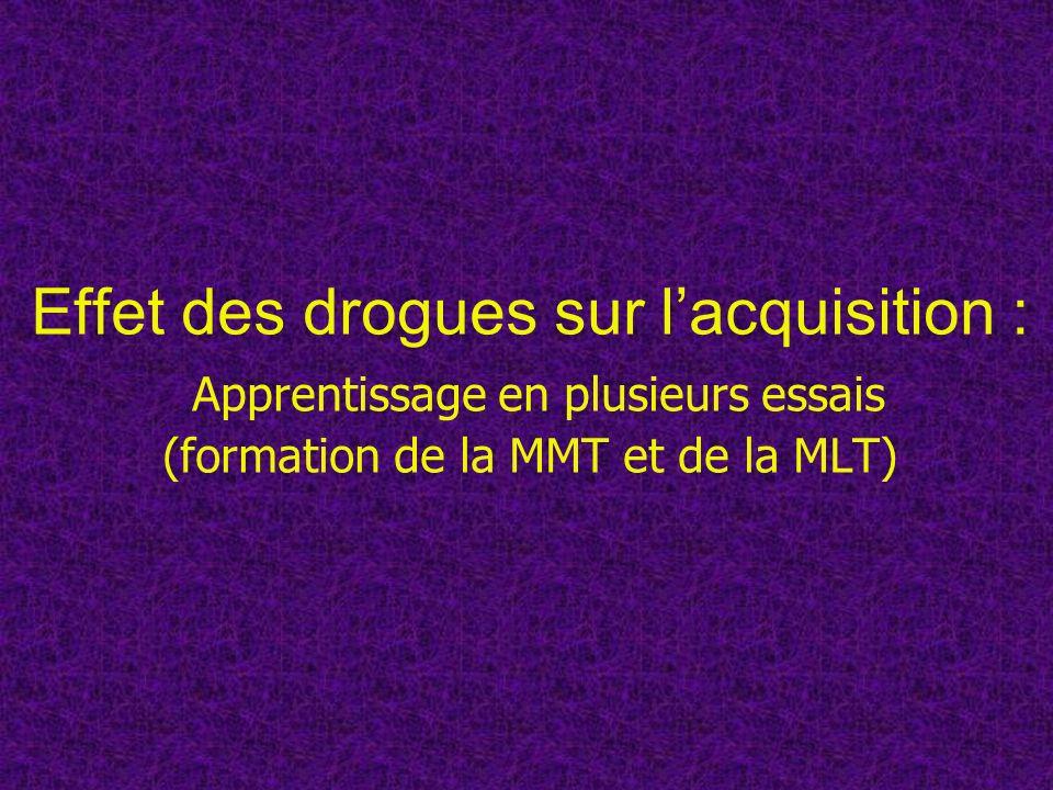 Effet des drogues sur lacquisition : Apprentissage en plusieurs essais (formation de la MMT et de la MLT)