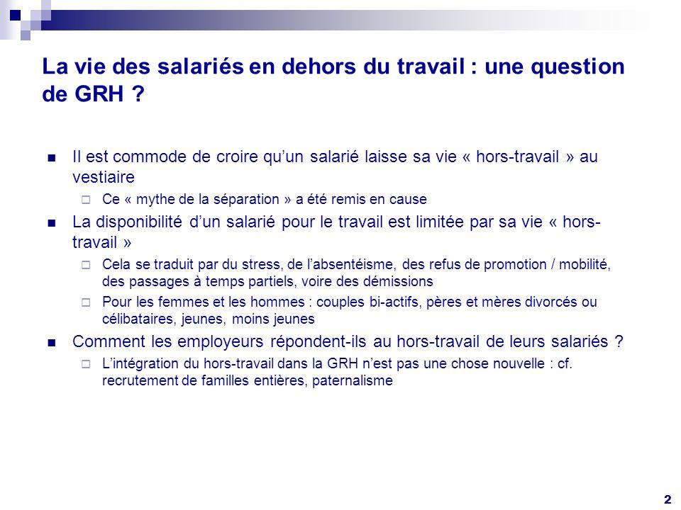 2 La vie des salariés en dehors du travail : une question de GRH .