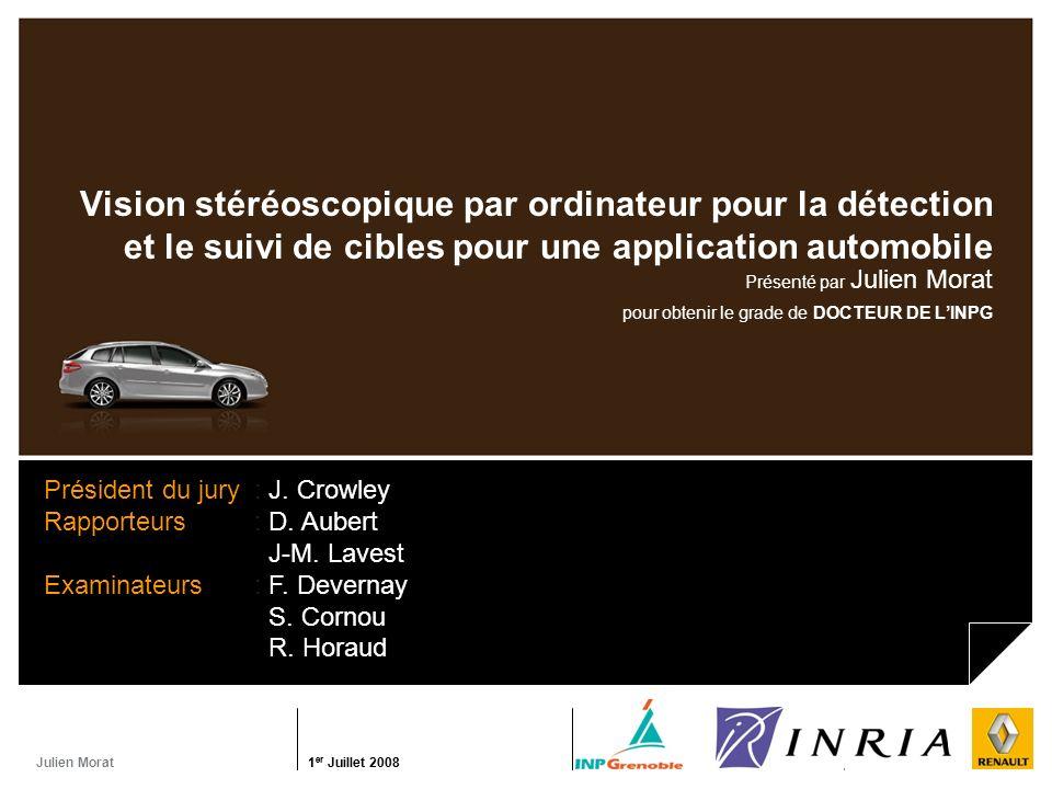 Julien Morat 1 er Juillet 2008 Renault / INRIA1 er Juillet 2008 INRIA / Renault Vision stéréoscopique par ordinateur pour la détection et le suivi de
