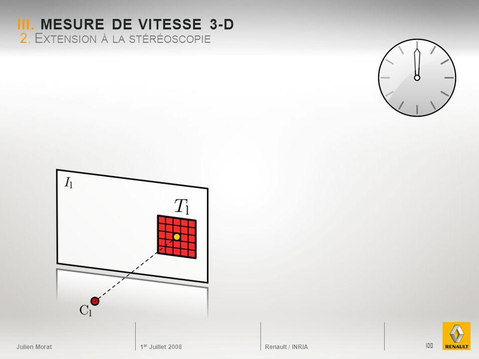 Julien Morat 1 er Juillet 2008 Renault / INRIA III. MESURE DE VITESSE 3-D 2. E XTENSION À LA STÉRÉOSCOPIE 100
