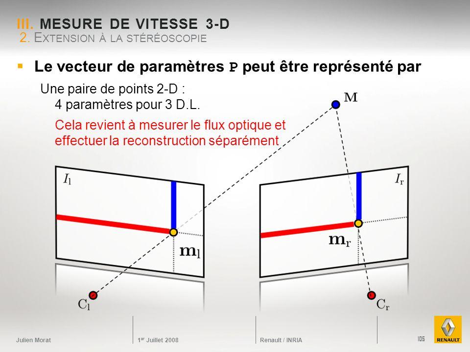 Julien Morat 1 er Juillet 2008 Renault / INRIA III. MESURE DE VITESSE 3-D 2. E XTENSION À LA STÉRÉOSCOPIE 105 Le vecteur de paramètres P peut être rep