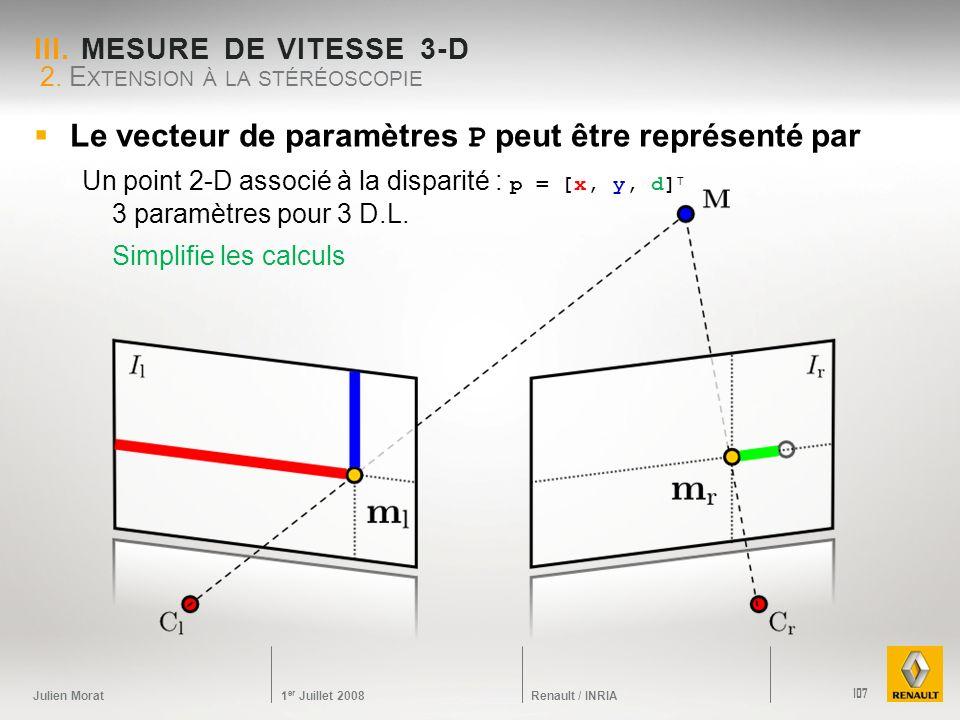 Julien Morat 1 er Juillet 2008 Renault / INRIA III. MESURE DE VITESSE 3-D 2. E XTENSION À LA STÉRÉOSCOPIE 107 Le vecteur de paramètres P peut être rep