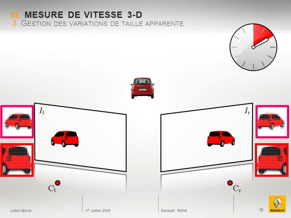 Julien Morat 1 er Juillet 2008 Renault / INRIA III. MESURE DE VITESSE 3-D 3. G ESTION DES VARIATIONS DE TAILLE APPARENTE 110