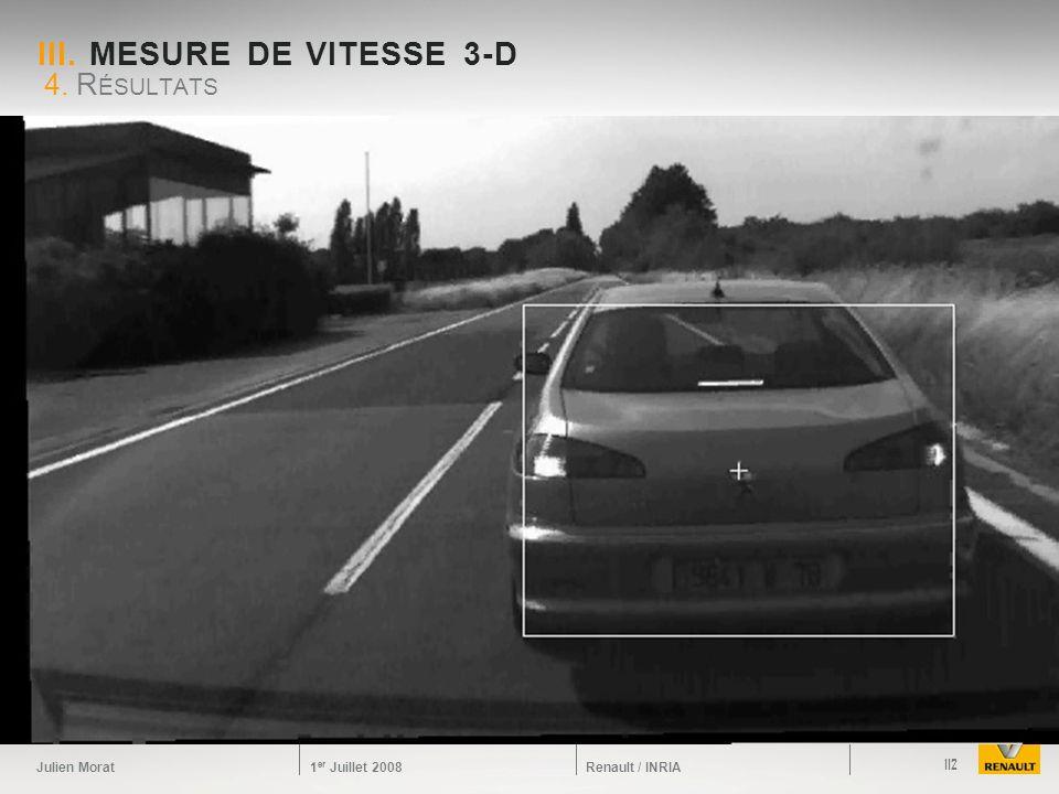 Julien Morat 1 er Juillet 2008 Renault / INRIA III. MESURE DE VITESSE 3-D 4. R ÉSULTATS 112
