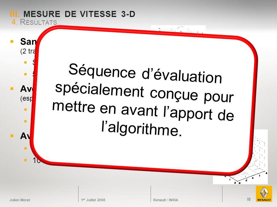 Julien Morat 1 er Juillet 2008 Renault / INRIA III. MESURE DE VITESSE 3-D Sans contrainte (2 trackers 2-D) Sigma 5 pixels 50% déchecs Avec des points