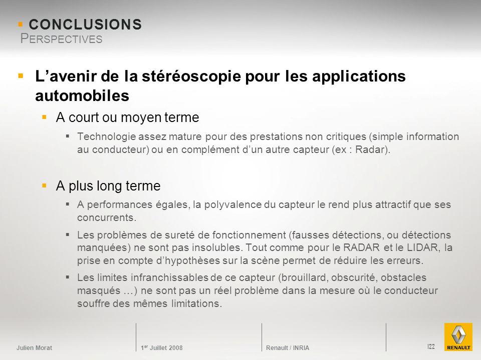 Julien Morat 1 er Juillet 2008 Renault / INRIA CONCLUSIONS Lavenir de la stéréoscopie pour les applications automobiles A court ou moyen terme Technol