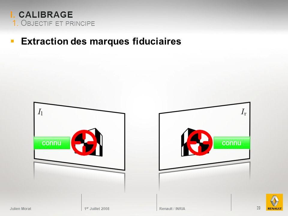 Julien Morat 1 er Juillet 2008 Renault / INRIA I. CALIBRAGE Extraction des marques fiduciaires 1. O BJECTIF ET PRINCIPE 20 connu