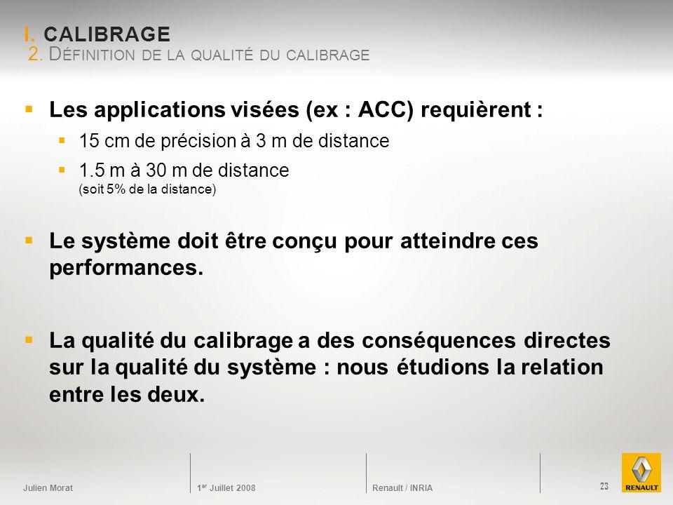 Julien Morat 1 er Juillet 2008 Renault / INRIA I. CALIBRAGE Les applications visées (ex : ACC) requièrent : 15 cm de précision à 3 m de distance 1.5 m