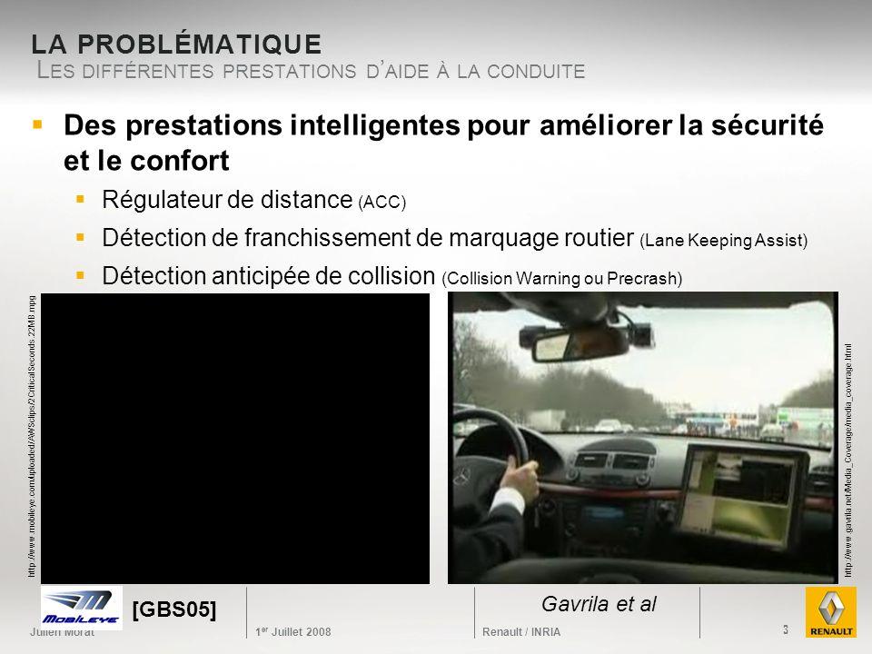 Julien Morat 1 er Juillet 2008 Renault / INRIA LA PROBLÉMATIQUE L ES DIFFÉRENTES PRESTATIONS D AIDE À LA CONDUITE 3 http://www.gavrila.net/Media_Cover