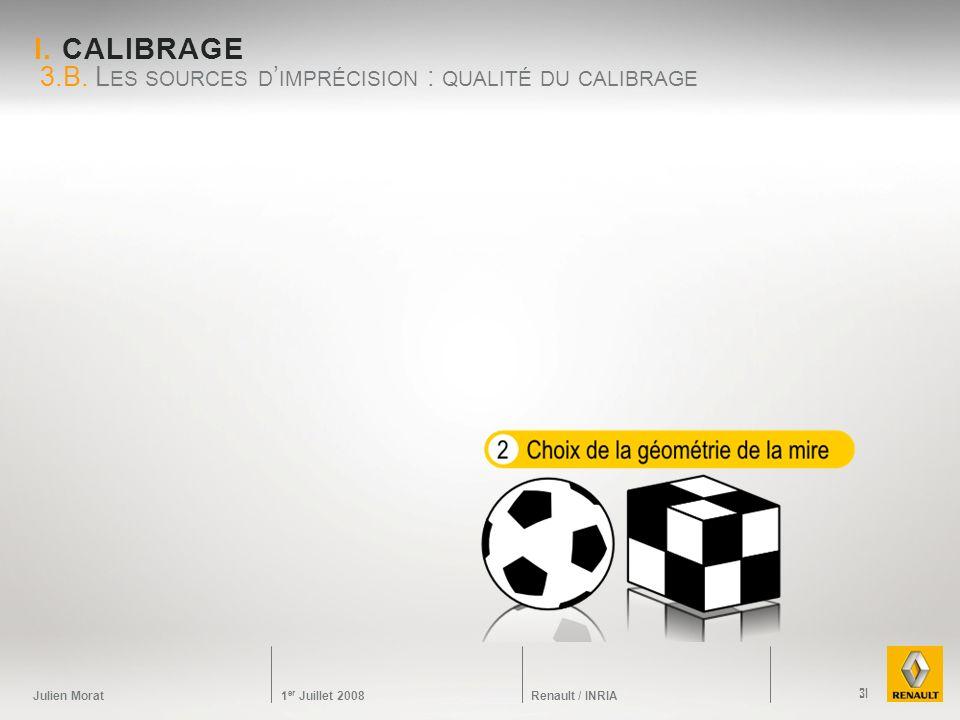 Julien Morat 1 er Juillet 2008 Renault / INRIA I. CALIBRAGE 3.B. L ES SOURCES D IMPRÉCISION : QUALITÉ DU CALIBRAGE 31