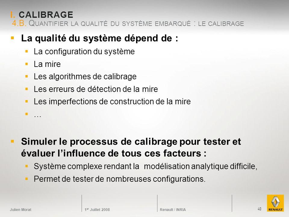 Julien Morat 1 er Juillet 2008 Renault / INRIA I. CALIBRAGE La qualité du système dépend de : La configuration du système La mire Les algorithmes de c