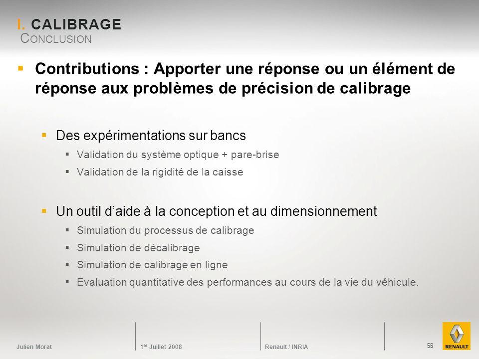 Julien Morat 1 er Juillet 2008 Renault / INRIA I. CALIBRAGE Contributions : Apporter une réponse ou un élément de réponse aux problèmes de précision d