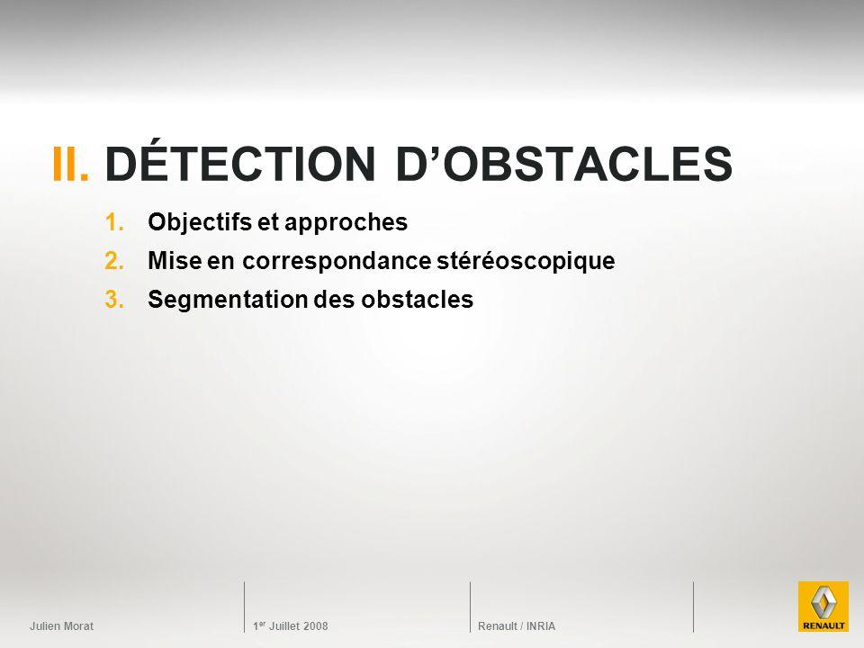 Julien Morat 1 er Juillet 2008 Renault / INRIA II. DÉTECTION DOBSTACLES 1.Objectifs et approches 2.Mise en correspondance stéréoscopique 3.Segmentatio