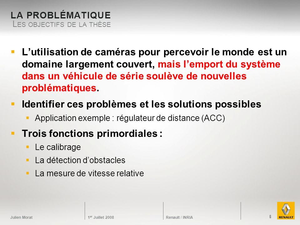 Julien Morat 1 er Juillet 2008 Renault / INRIA LA PROBLÉMATIQUE Lutilisation de caméras pour percevoir le monde est un domaine largement couvert, mais