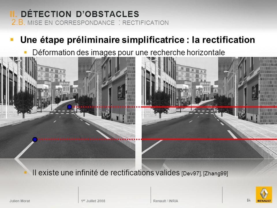 Julien Morat 1 er Juillet 2008 Renault / INRIA Une étape préliminaire simplificatrice : la rectification Déformation des images pour une recherche hor