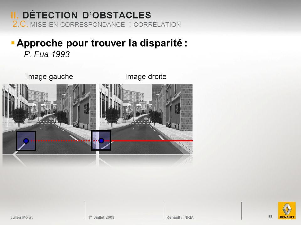 Julien Morat 1 er Juillet 2008 Renault / INRIA Approche pour trouver la disparité : P. Fua 1993 II. DÉTECTION DOBSTACLES 2.C. MISE EN CORRESPONDANCE :