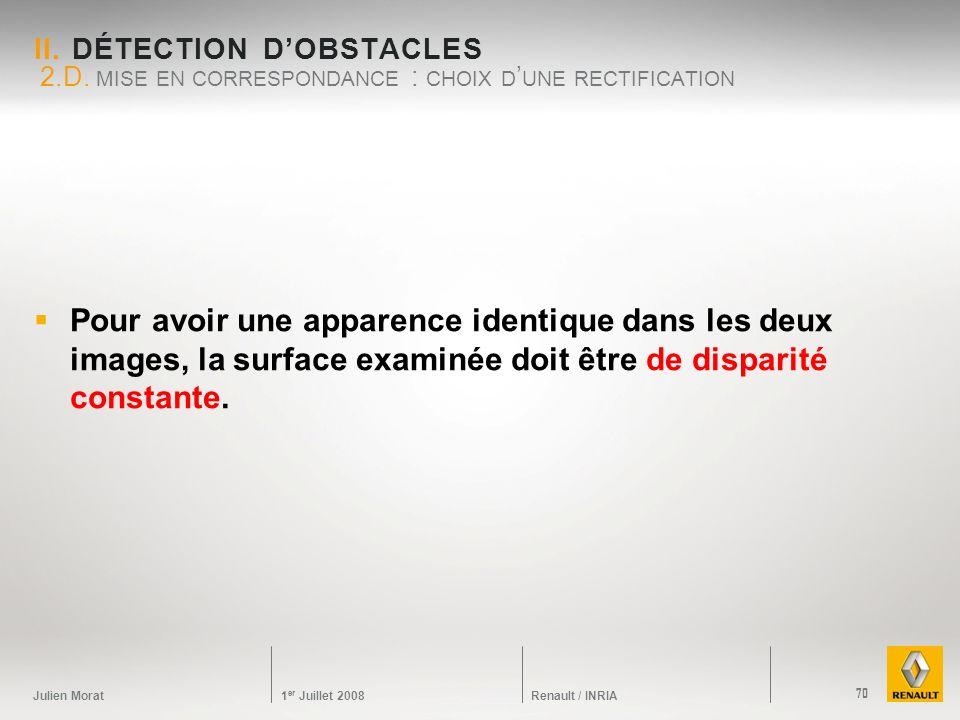 Julien Morat 1 er Juillet 2008 Renault / INRIA II. DÉTECTION DOBSTACLES Pour avoir une apparence identique dans les deux images, la surface examinée d