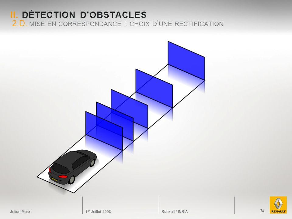 Julien Morat 1 er Juillet 2008 Renault / INRIA II. DÉTECTION DOBSTACLES 2.D. MISE EN CORRESPONDANCE : CHOIX D UNE RECTIFICATION 74