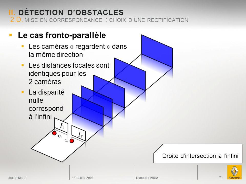 Julien Morat 1 er Juillet 2008 Renault / INRIA II. DÉTECTION DOBSTACLES 2.D. MISE EN CORRESPONDANCE : CHOIX D UNE RECTIFICATION 75 Le cas fronto-paral