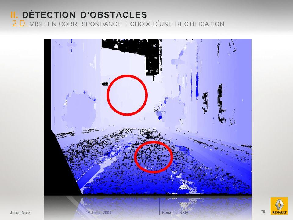 Julien Morat 1 er Juillet 2008 Renault / INRIA II. DÉTECTION DOBSTACLES 2.D. MISE EN CORRESPONDANCE : CHOIX D UNE RECTIFICATION 76