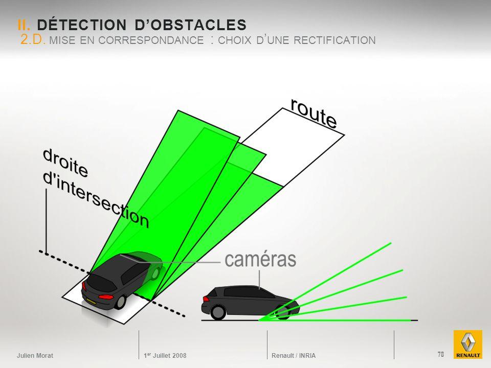 Julien Morat 1 er Juillet 2008 Renault / INRIA II. DÉTECTION DOBSTACLES 2.D. MISE EN CORRESPONDANCE : CHOIX D UNE RECTIFICATION 78